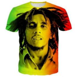 Marley camisetas on-line-Nova Moda Das Mulheres / Mens Reggae Estrela Bob Marley Mangas Curtas Engraçado 3D Impressão T-shirt de Verão Roupas Casuais Top Tees Mais S-5XLKK10