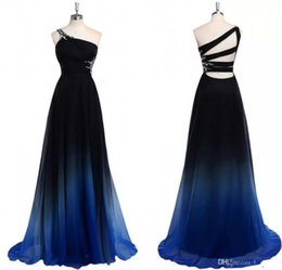 Wholesale One Shoulder Evening Dresses Shirt - 2017 Ombre Gradiant Color Prom Dresses One shoulder Empire Waist Chiffon Black Royal Blue Designer Long Cheap Formal Evening Pageant Dress