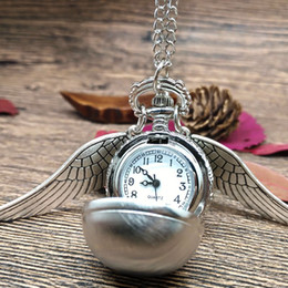 Wholesale Silver Tone Pocket Watch - Famous Moive Harry Potter Snitch Ball Wing Pocket Watch Necklace Silver Tone Quartz Movement Watch for Child Xmas Gift