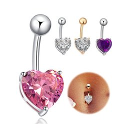 Wholesale Piercing Navel Gold - Yellow White Gold Plated AAA+ Top Quality Cubic Zirconia Heart Piercing Navel Bell Button Ring Sexy Body Jewelry for Women