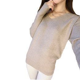 Wholesale Low Priced Wool Sweaters - Wholesale-LOWEST PRICE Fashion Women's Pullover Sweater Lady V-neck Batwing Sleeve Cashmere Wool Knitted Solid Color Loose Free Shipping