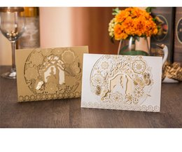 Wholesale 3d Bride Groom Invitation - 100pcs Sample Laser Cut Bride and Groom Marriage Wedding Invitations Cards Greeting Cards 3D Cards Postcard Event Party Supplies DHL Free