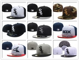Wholesale Cheap Baseball Fitted Hats - Wholesale Black Grey White Sox Fitted Hats Sports Design Baseball Cap Cheap Sale Brand Flat Brim Cool Base Closed Caps