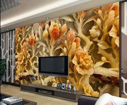 chinesische wandschnitzereien Rabatt Foto jeder Größe Chinesische Wind Blumen und reiche Jade Carvings TV Hintergrund Wandbild 3D wallpaper 3D Tapeten für TV Hintergrund
