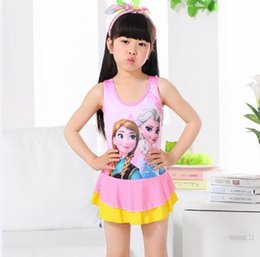 Wholesale Hot Pink Swimsuit 4t - Children swimsuit girl small middle boy swimsuit children Siamese cute ice and snow princess princess hot spring bathing suit