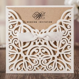 Wholesale Wholesale Flat Back Flowers - Laser Cut White Blue Hollow Flora Flower Wedding Invitations Elegant Birthday Party Cards Cardstock Paper Craft CW6179W