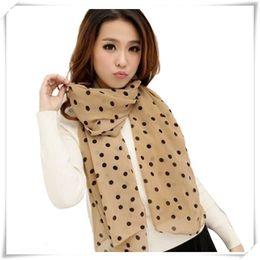 Wholesale Plain Scarve - Wholesale- Newly Design Stylish Girl Long Soft Silk Chiffon Scarf Wrap Polka Dot Shawl Scarve For Women May18