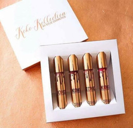 Wholesale New Arrival Gold Set - New Arrival KOKO KOLLECTION gold birthday limited makeup 4pcs set KYLIE Liquid matte lipstick Kollection by Kylie cosmetics DHL Ship
