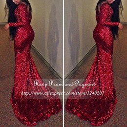 Wholesale Sparkle Long Party Dresses - 2017 Sparkling Burgundy Mermaid Prom Dress New Design V Back South Africa Long Sweep Train Formal Evening Party Gown Custom Made Plus Size