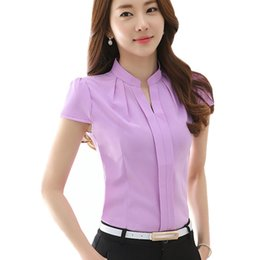 Wholesale High Quality Woman Blouse - High Quality New Fashion Summer Blusas Women Clothing Blouses Work Wear Tops Short Sleeve Shirt Office Blouse Plus Size