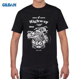 Wholesale Rocker T Shirts - T Shirt 2017 New Men Summer O-Neck Biker Route 66 Motorrad Rocker Chopper Custom USA Classic custom design t shirts
