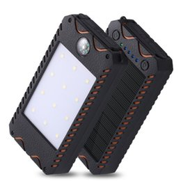 Wholesale Solar Charge Bank - Waterproof compass solar power bank 20000mah universal battery charger with LED flashlight for outdoor camping phone charging