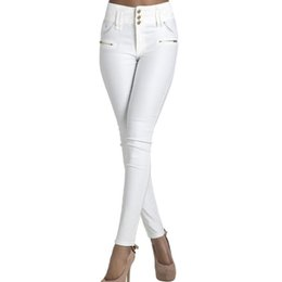 Wholesale High Waist Button Pants - Wholesale- Autumn 2016 new Skinny High Waist Jeans Female white buttons long Pencil Pants women Elastic slim Denim Jeans Trousers Plus Size
