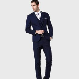 Wholesale Stylish Groom Vests - Latest design men suits Slim Fit Men stylish Navy Bue Men Wedding Suits tuxedos Custom groom Suit(jacket+ Pants+Vest)