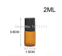 Wholesale Wholesale Roll Glass Vials - Mini 2ml 5 8 Dram Refillable Amber Glass Roll On Essential Oils Vials Bottle + Metal Roller Ball for travel Sample 200pcs lot