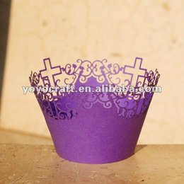 Wholesale Wholesale Order Party Favors - Wholesale-Personalized decoration party wedding favors supplies laser cut cupcake wrappers for baptism in Gifts & Crafts with mix order
