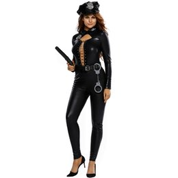 Wholesale Sexy Police Women - Halloween Costume for Woman Sexy Police Officer Costume 6pcs Adult Officer Costume Party Uniform Fantasia women catsuit black faux leather