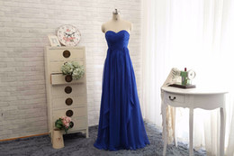 Wholesale Long Dress Green Blue Print - Royal Blue Green Chiffon Bridesmaid Dresses Long 2016 Sweetheart Prom Gowns Wedding Party Guest Dress