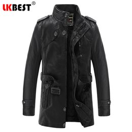 Wholesale mens wool coat leather sleeves - Wholesale- LKBEST 2017 New long Male Leather Jacket Punk Warm Mens Leather Jackets Coats Casual Motorcycle Jacket Brand Outwear PY20