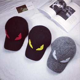 Wholesale Devil Hats - Autumn and Winter Fashion Little Monster Eyes Wool Baseball Cap Small Devil Men and Women Hat