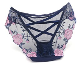 Wholesale Personalized Bikini - Ultra Feminin Lace Bikini Briefs Personalized Hipster Embroidery Lace Floral Lingerie Panties for Women Honeymoon See Through Cutout Briefs