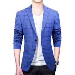 Wholesale Men Boys Slim Fit Suits - Wholesale- 1pcs Men's Casual blazer jackets 2017Spring Cotton blended Slim fit plaid Blue Small blazers coats suits Men Skinny jackets boys