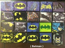 Wholesale Gentle Style - Comics DC Marvel Summer Style Men Wallet PVC Batman Anime Purse Handbag Black Color Gentle Man Fashion Collection Gift Wallets