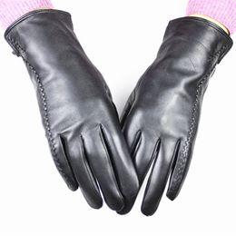Wholesale Wholesale Leather Opera Gloves - Wholesale- 2017 Mechanix Leather Gloves Women Imports High-quality Sheepskin Embossed Stripes Style Velvet Lining Autumn And Winter Warm
