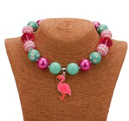 Wholesale Bubblegum Birthday Party - 2PCS Flamingo Pendant Necklace Birthday Party Gift For Toddlers Girls Beaded Bubblegum Baby Kids Chunky Necklace Jewelry