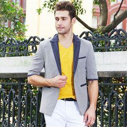 Wholesale Cool Slim Men Blazer - Wholesale- 2017 Half Sleeve safari Blazer Men Casual Blazer Jacket Summer Office cool Design Wholesale Slim fit school jacket welt pocket