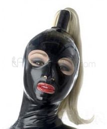 Wholesale Black Orange Wig - Sexy Women's Black Natural Latex Hood Mask Fetish Open Eyes Mouth with Wig Custom Made Free