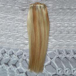 2019 trama remy malese dei capelli ricci marroni Capelli vergini malesi Lisci 27/613 capelli vergini biondi Fasci di tessuto 100g 1 pz estensioni di capelli umani doppia trama