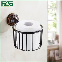 Wholesale Tissue Holders Retail - FLG Free Shipping Wholesale And Retail Oil Rubbed Bronze Black Bathroom Toilet Paper Holder Rack Tissue Baskets Wall Mount 91313