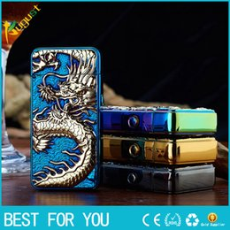Wholesale Dragon Lighters - HB double arc USB rechargeable lighter personality Ultra-thin Relief Chinese Dragon Arc electronic cigarette lighter