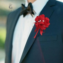Wholesale Prom Corsage Wholesale - New Men Brooch Artificial Silk Flower with Pearl Design Wedding Prom Corsages and Boutonnieres Suit Accessories