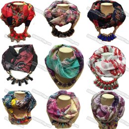 Wholesale Glass Dyes - 2016 New Design Soft Charm Pendant Scarves Jewelry Scarves Fashion Jewelry Scarf mix design infinity scarves with jewelry pendant DHLFree