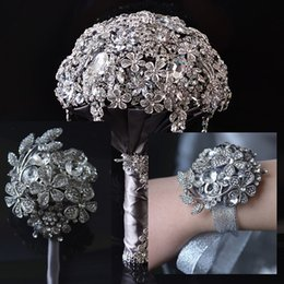 Wholesale Grey Wedding Bouquets - gHigh-quality grey colorbride holding flowers round shape silk rose covered by crystals bridal wedding bouquet with Wrist flower and corsage