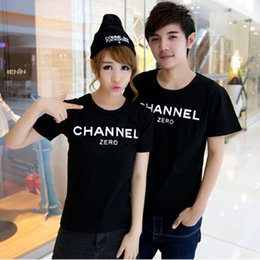 Wholesale Clothing For Couples - Wholesale-2016 Summer New Brand Women T-Shirt For Couple Clothes Cotton Short Sleeve Letter Print Channel T Shirt Women Couple Outfits