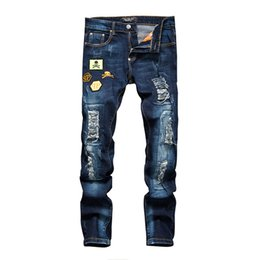 Wholesale Luxury Men Slim Straight Trousers - European American Style mens famous brand jeans luxury Men's denim trousers hole Slim blue Straight Patchwork jeans for men 2018