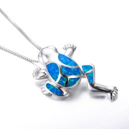 Wholesale Frog Pendant Gold - Unique 925 Sterling Silver Filled Animal Charm Necklace Blue Fire Opal Frog Pendant Necklaces For Women Men Party Gifts