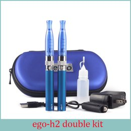 Wholesale Ego T Double Kits - Electronic Cigarette H2 EGo T Double Zipper Case Kit 2.0ml Atomizer 2.4ohm Vaporizer Ecig EGo T Battery Zipper Kit