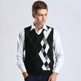 Wholesale Knit Vest Black - New Wool Sweater Pullover Tops Sleeveless Plaids V Neck for Autumn Winter Casual Basic Knit Vest Men's Fashion Clothing 0825