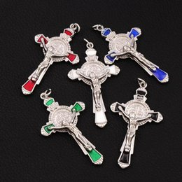 Wholesale Patriotic Charms - Enamel Saint St Benedict Medal Cross Crucifix Spacer Charm Beads 40pcs lot 5Colors Pendants T1670 Jewelry DIY