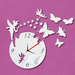 Wholesale Kids Acrylic Mirrors - Wholesale-New 2016 3D Acrylic Mrror Wll Clock Angel Watch Wall Sticker Reloj De Pared Mirror Wall Clock Home Decoration On Kids Room