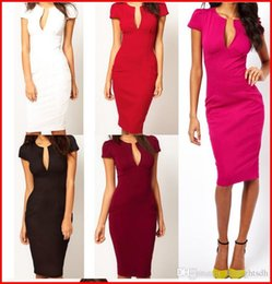 Wholesale Ladies Office Sexy Dress - Women Dresses Summer Elegant Ladies' Sexy Prom Office V-Neck Fashion Celebrity Pencil Work Pocket Party Slim Bodycon OL Dress ouc029