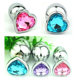 Wholesale Sex Jewelry - Heart Shaped Stainless Steel Crystal Jewelry Small Size 28mm x 73mm Anal Plug Sex Toys ,Butt Plug ,Anal sex products