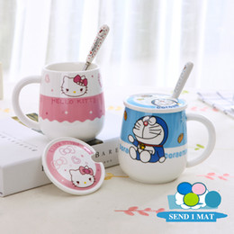 Wholesale Tray For Tea - Hello Kitty Doraemon Anime Mug 500ml Ceramic Coffee Tea Cup With Lid Spoon Mat Kawaii Trumbler For Gift Cafe Teatime