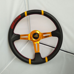 Wholesale Momo Carbon Steering Wheel - Car 14 inch Universal MOMO steering wheel   carbon fiber racing steering wheel   Gold Bracket sports steering wheel