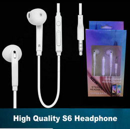 Wholesale Earbuds Headphone Mic Volume Control - S6 Headphones Earphone Earbuds Headset for 3.5mm In Ear wired Earphones With Mic Volume Control White With Retail Box
