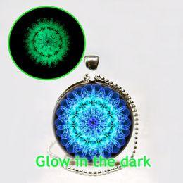 Wholesale Soothe Glow - Fashion Women jewelry hot new necklace Mandala Necklace,Mandala Art Necklace Soothing Blue Mandala Glow in the dark Jewelry